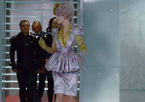 Effie purple dress Hunger Games